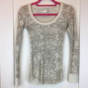Fox Thermal Knit Long Sleeve Top Insect Print S